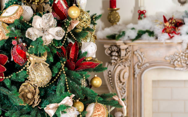 Close-Up of Decorated Christmas Tree
