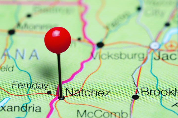 Map with pin in Natchez, MS