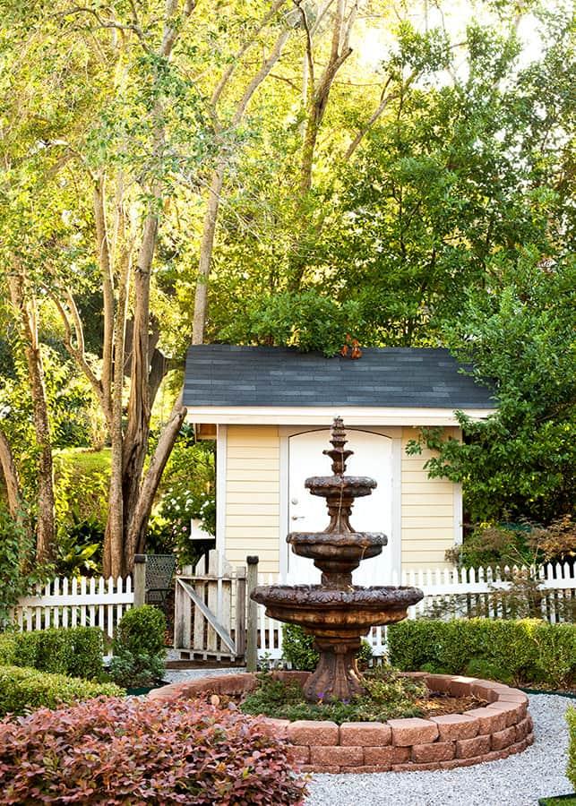 water fountain outside of Devereaux Shields House