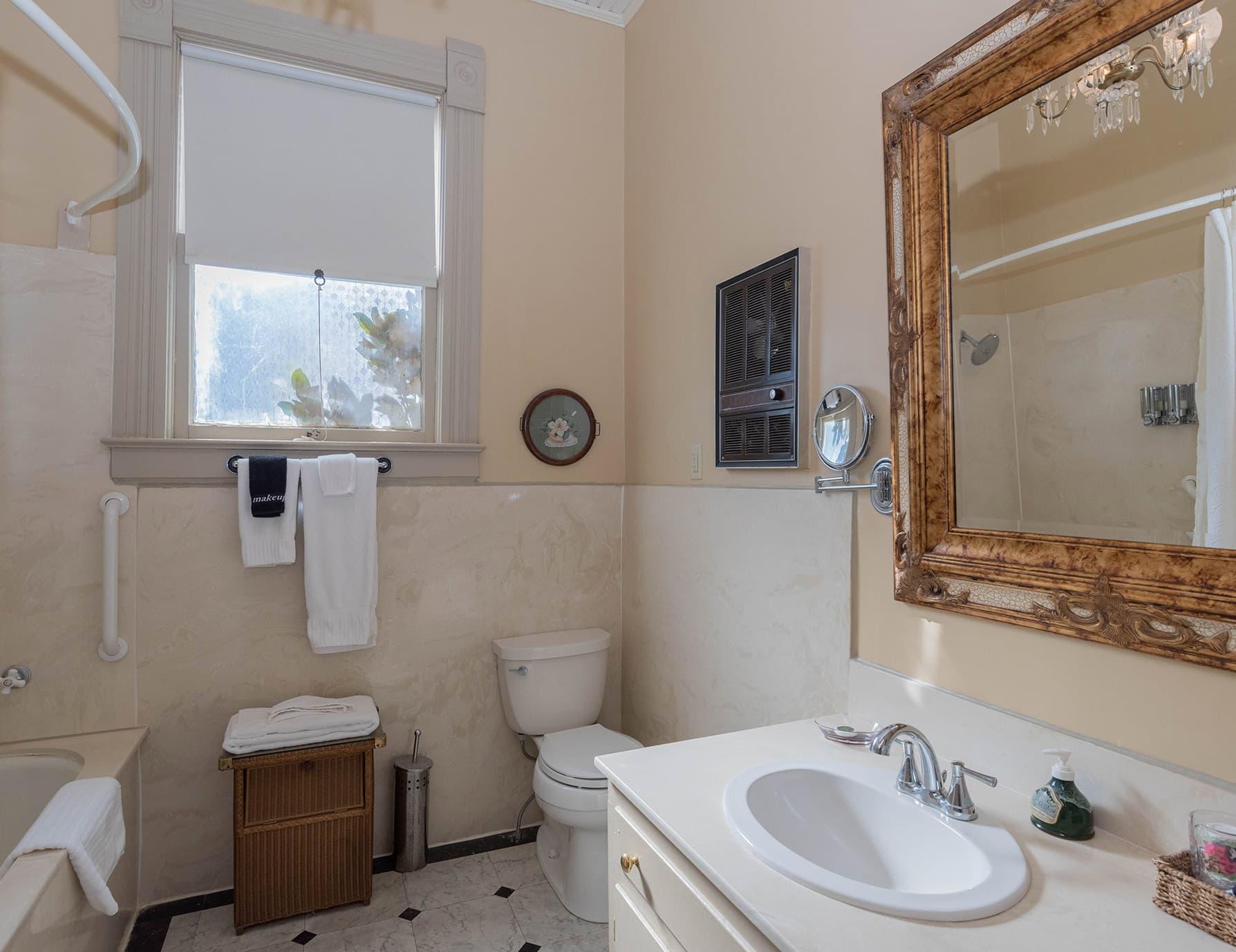 Rose Suite bathroom at our Natchez B&B