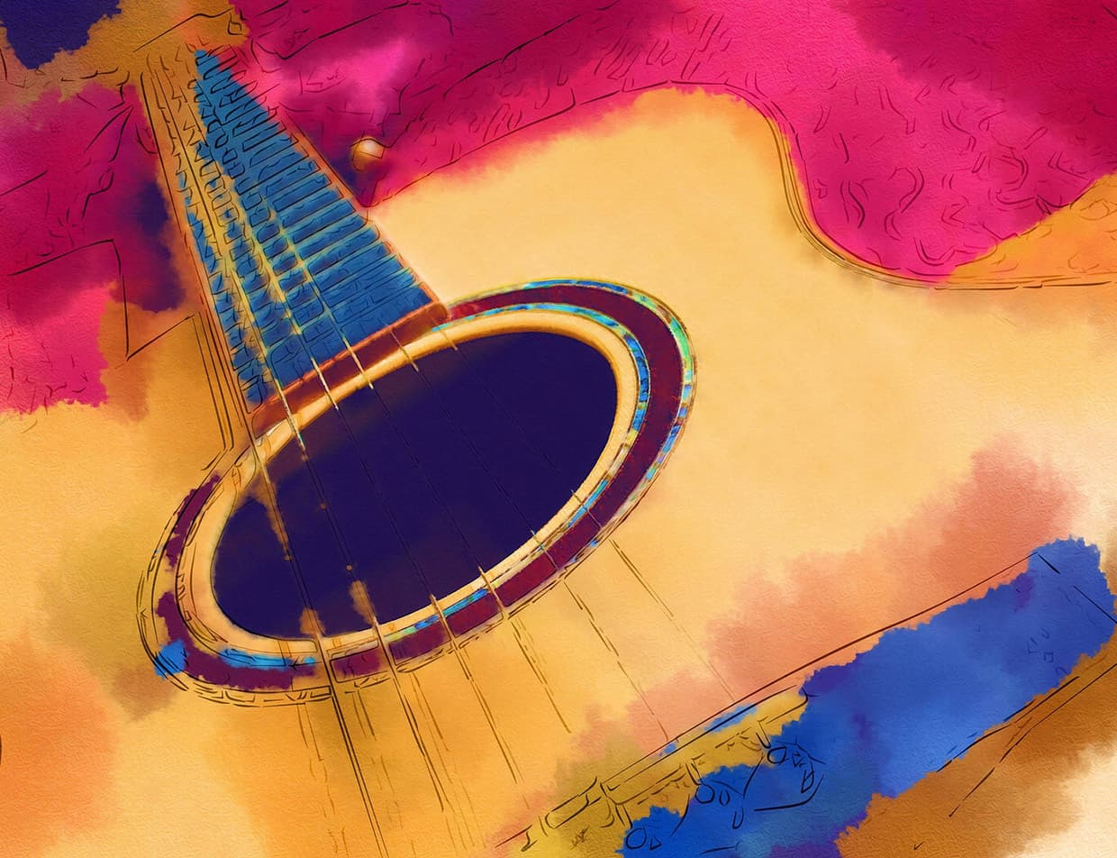 painting of a guitar
