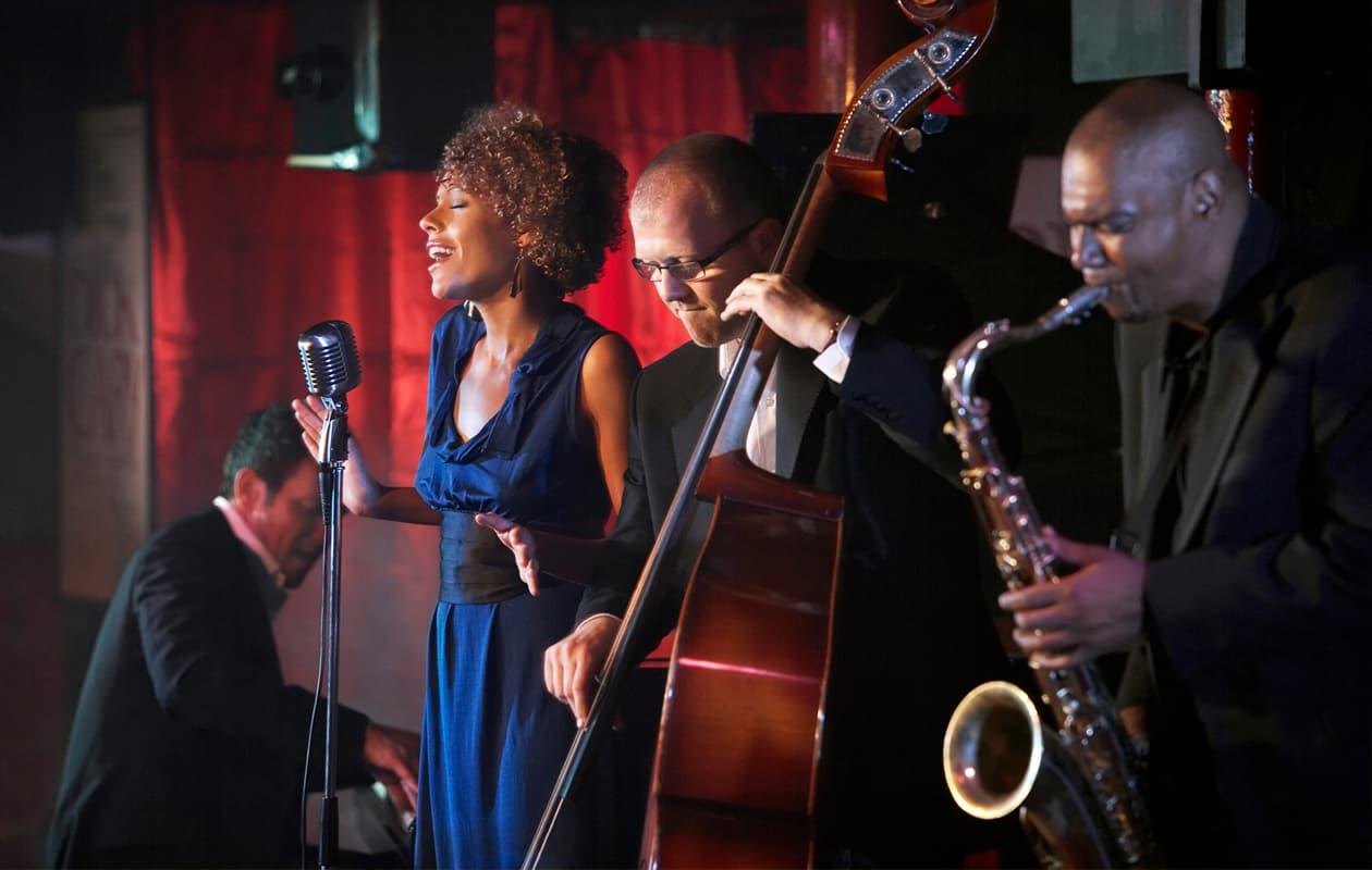 jazz musicians on stage in natchez
