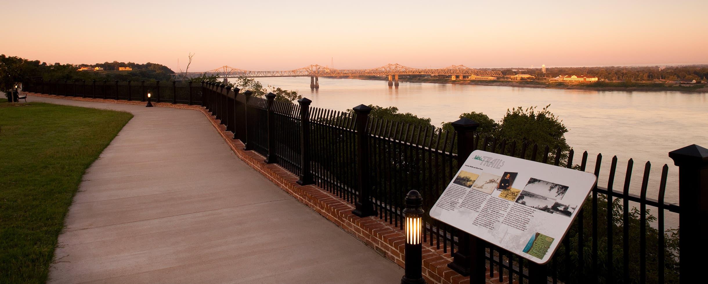 Natchez, MS trail and view of bridge