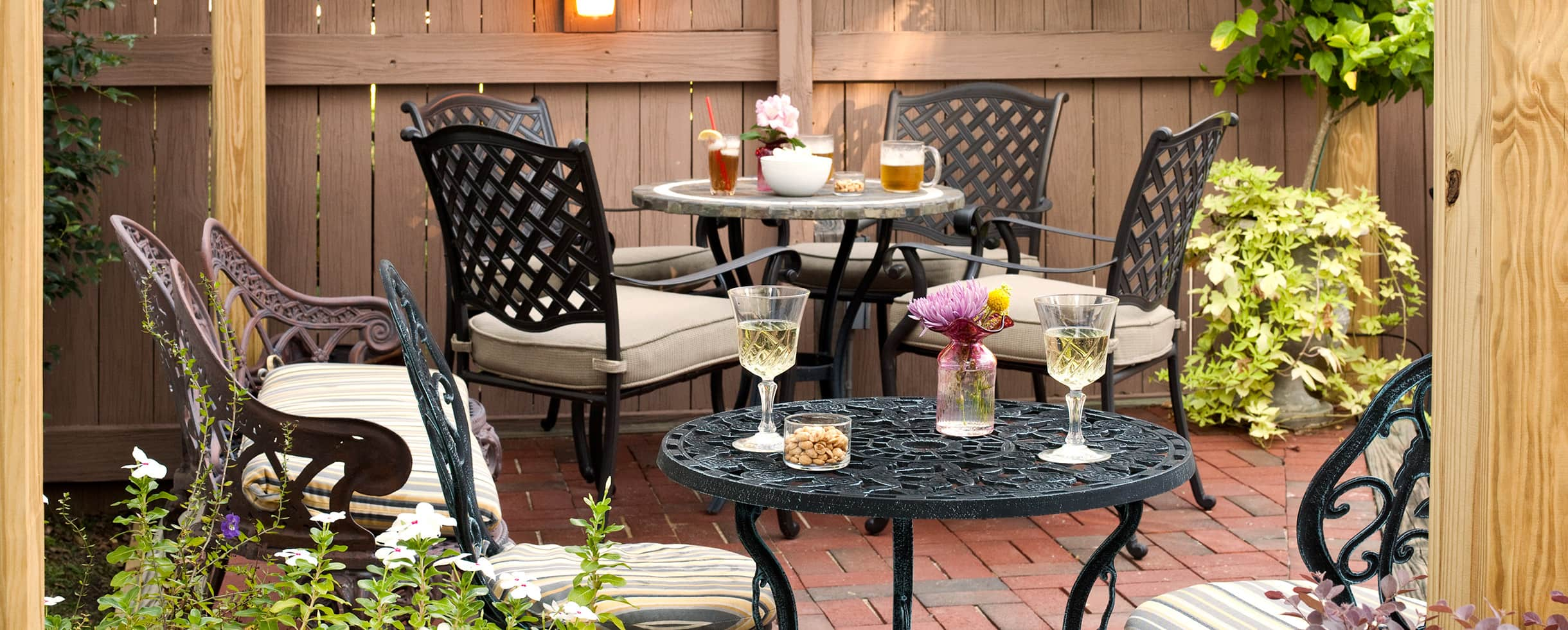 patio tables with drinks