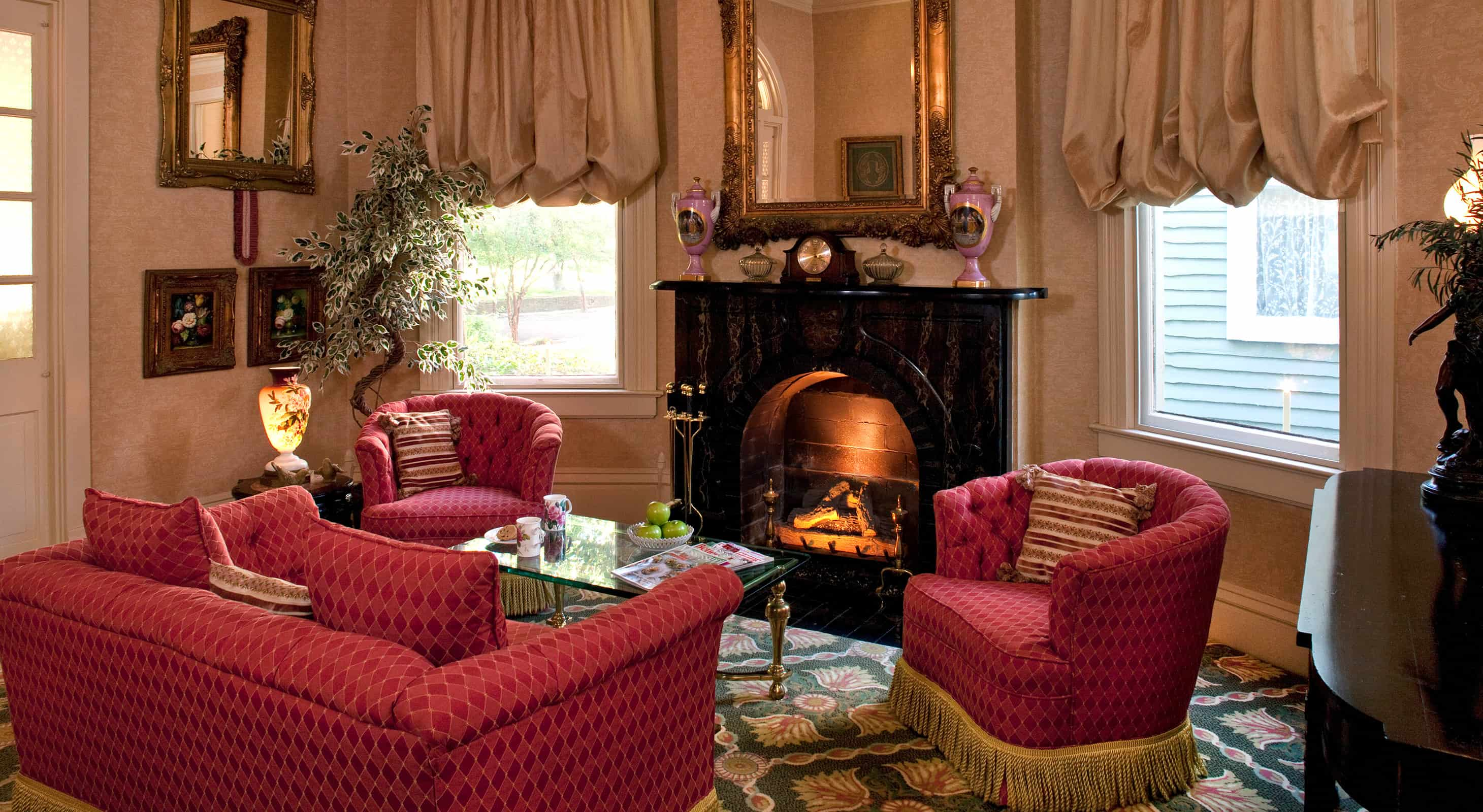 Common area seating room with fireplace
