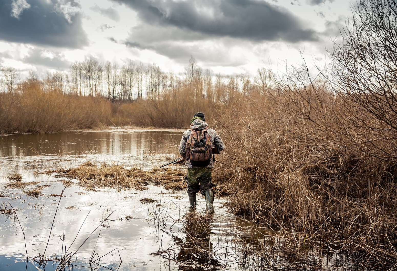 hunter in a swamp